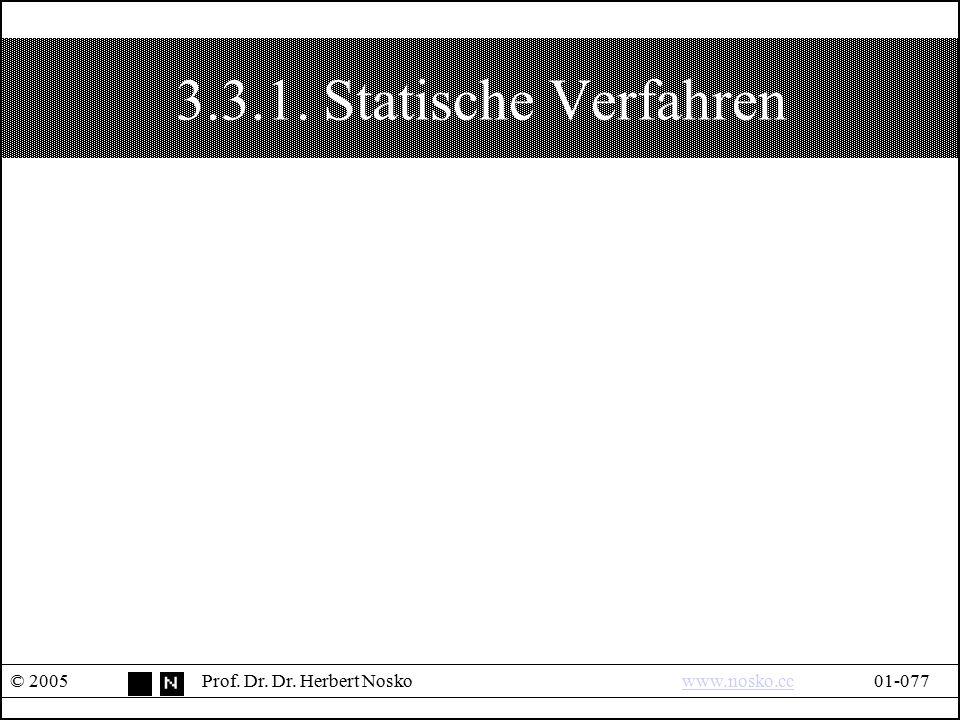 3.3.1. Statische Verfahren © 2005Prof. Dr. Dr. Herbert Noskowww.nosko.cc01-077www.nosko.cc