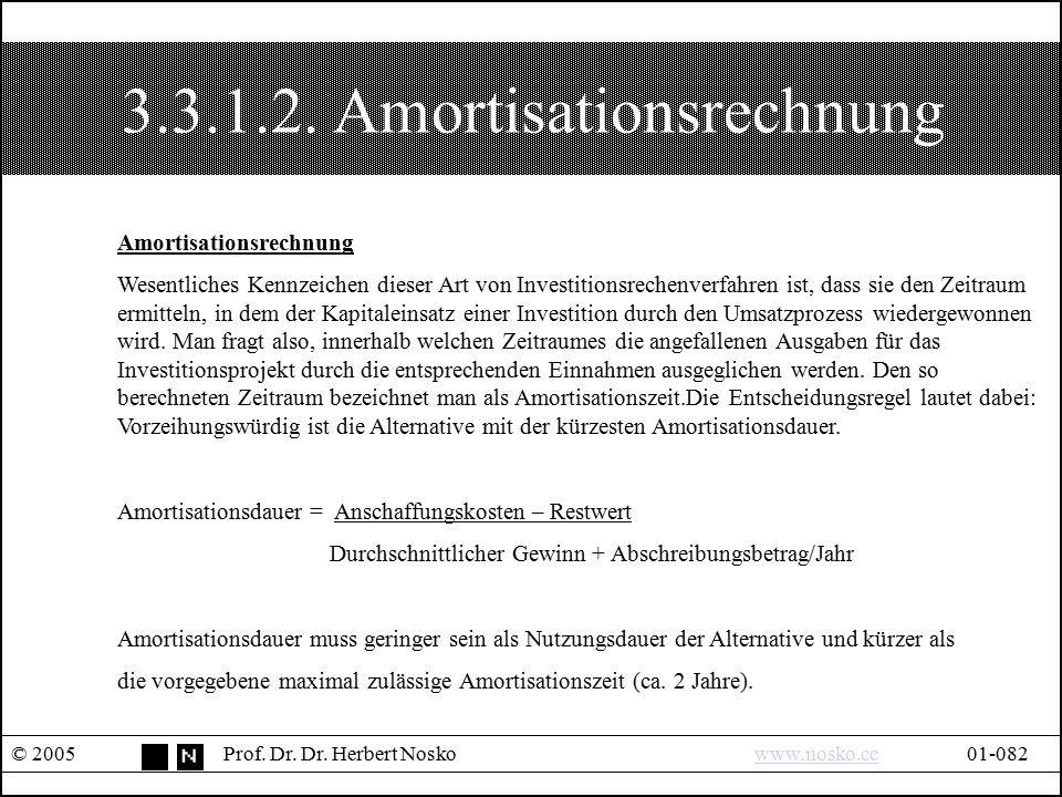 3.3.1.2. Amortisationsrechnung © 2005Prof. Dr. Dr. Herbert Noskowww.nosko.cc01-082www.nosko.cc Amortisationsrechnung Wesentliches Kennzeichen dieser A