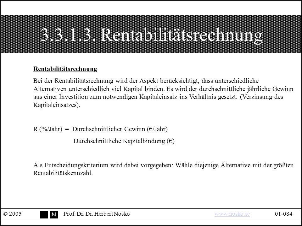 3.3.1.3. Rentabilitätsrechnung © 2005Prof. Dr. Dr. Herbert Noskowww.nosko.cc01-084www.nosko.cc Rentabilitätsrechnung Bei der Rentabilitätsrechnung wir