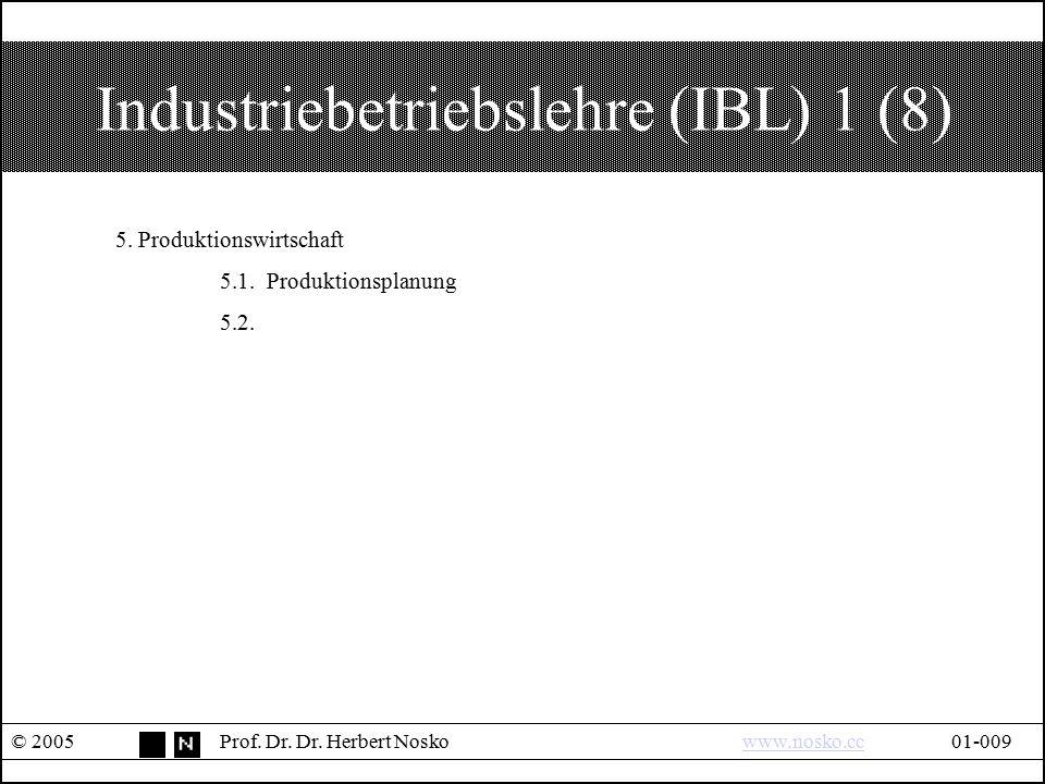 Industriebetriebslehre (IBL) 1 (8) © 2005Prof. Dr. Dr. Herbert Noskowww.nosko.cc01-009www.nosko.cc 5. Produktionswirtschaft 5.1. Produktionsplanung 5.