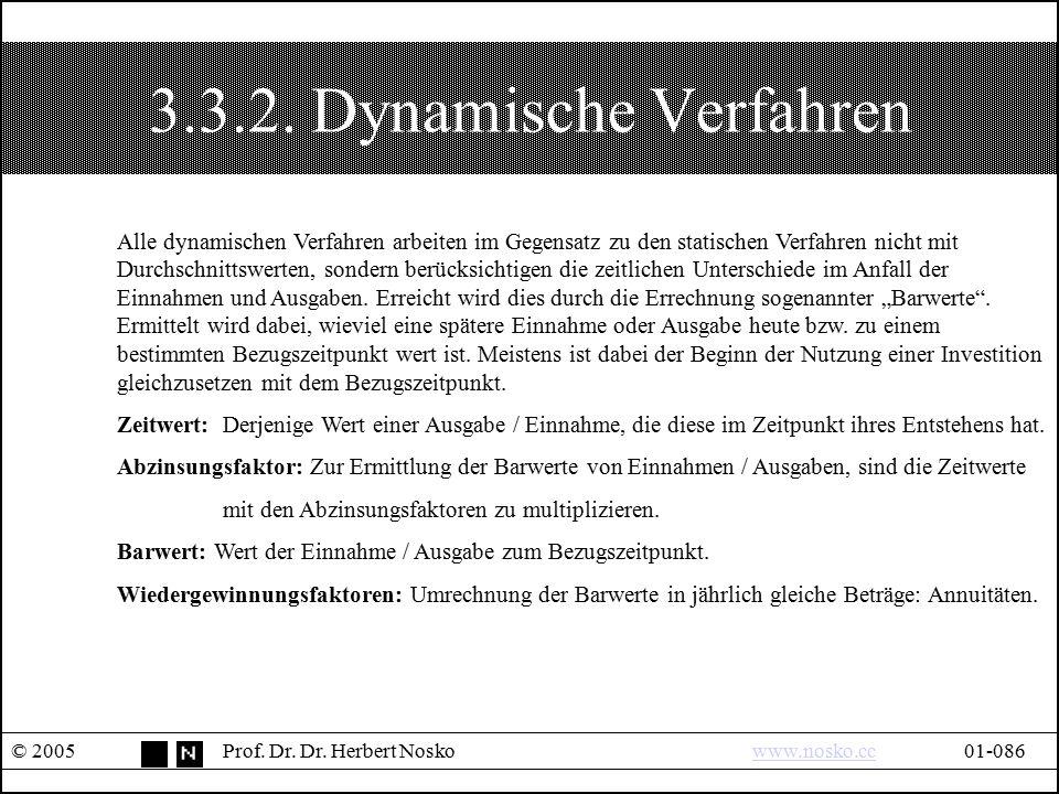 3.3.2. Dynamische Verfahren © 2005Prof. Dr. Dr. Herbert Noskowww.nosko.cc01-086www.nosko.cc Alle dynamischen Verfahren arbeiten im Gegensatz zu den st