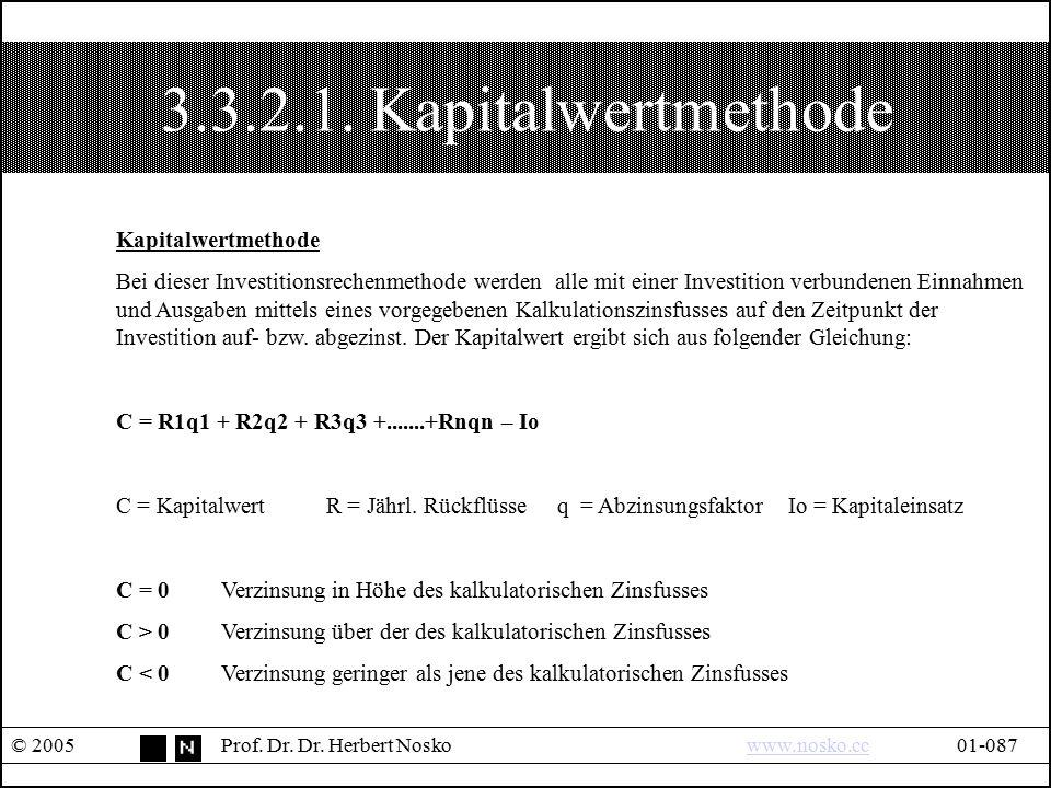 3.3.2.1. Kapitalwertmethode © 2005Prof. Dr. Dr. Herbert Noskowww.nosko.cc01-087www.nosko.cc Kapitalwertmethode Bei dieser Investitionsrechenmethode we