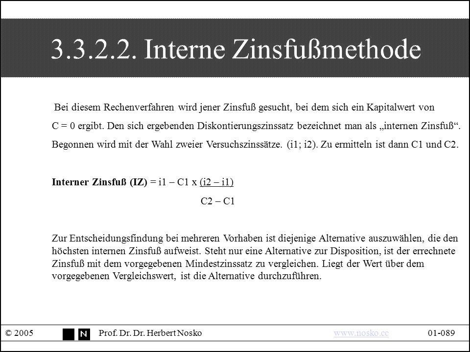 3.3.2.2. Interne Zinsfußmethode © 2005Prof. Dr. Dr. Herbert Noskowww.nosko.cc01-089www.nosko.cc Bei diesem Rechenverfahren wird jener Zinsfuß gesucht,