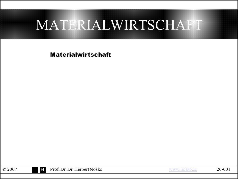 MATERIALWIRTSCHAFT © 2007Prof. Dr. Dr. Herbert Noskowww.nosko.cc20-001www.nosko.cc Materialwirtschaft