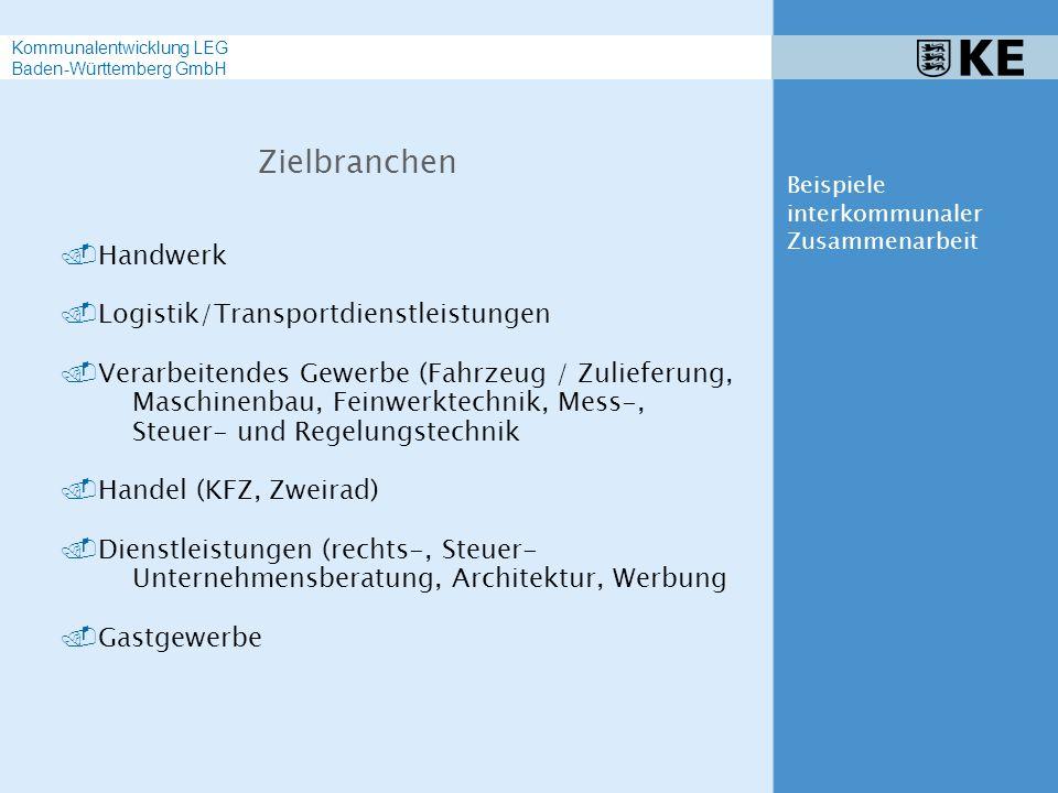.Handwerk.Logistik/Transportdienstleistungen.Verarbeitendes Gewerbe (Fahrzeug / Zulieferung, Maschinenbau, Feinwerktechnik, Mess-, Steuer- und Regelungstechnik.Handel (KFZ, Zweirad).Dienstleistungen (rechts-, Steuer- Unternehmensberatung, Architektur, Werbung.Gastgewerbe Zielbranchen Beispiele interkommunaler Zusammenarbeit Kommunalentwicklung LEG Baden-Württemberg GmbH