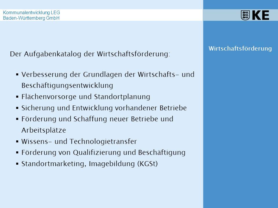 Von der traditionellen Wirtschaftsförderung zur integrierten Standortpolitik Methoden und Instrumente Wirtschaftsförderung Kommunalentwicklung LEG Baden-Württemberg GmbH