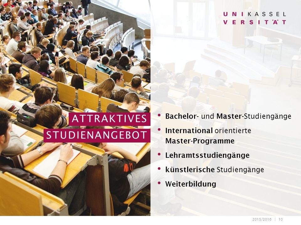 2015/2016 | 10 Bachelor- und Master-Studiengänge International orientierte Master-Programme Lehramtsstudiengänge künstlerische Studiengänge Weiterbildung ATTRAKTIVES STUDIENANGEBOT