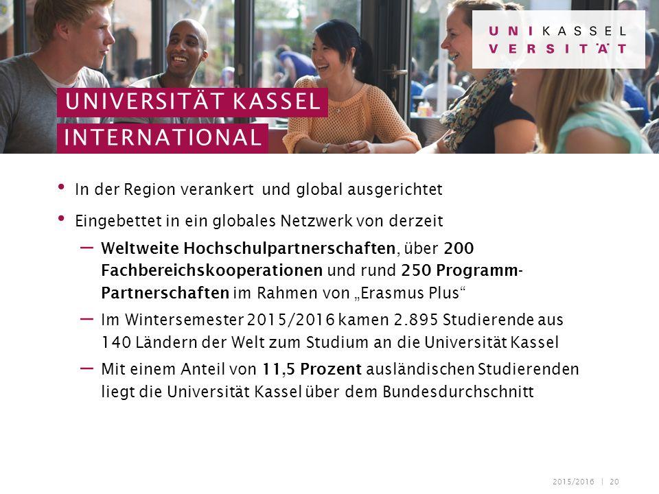2015/2016 | 20 In der Region verankert und global ausgerichtet Eingebettet in ein globales Netzwerk von derzeit – Weltweite Hochschulpartnerschaften,