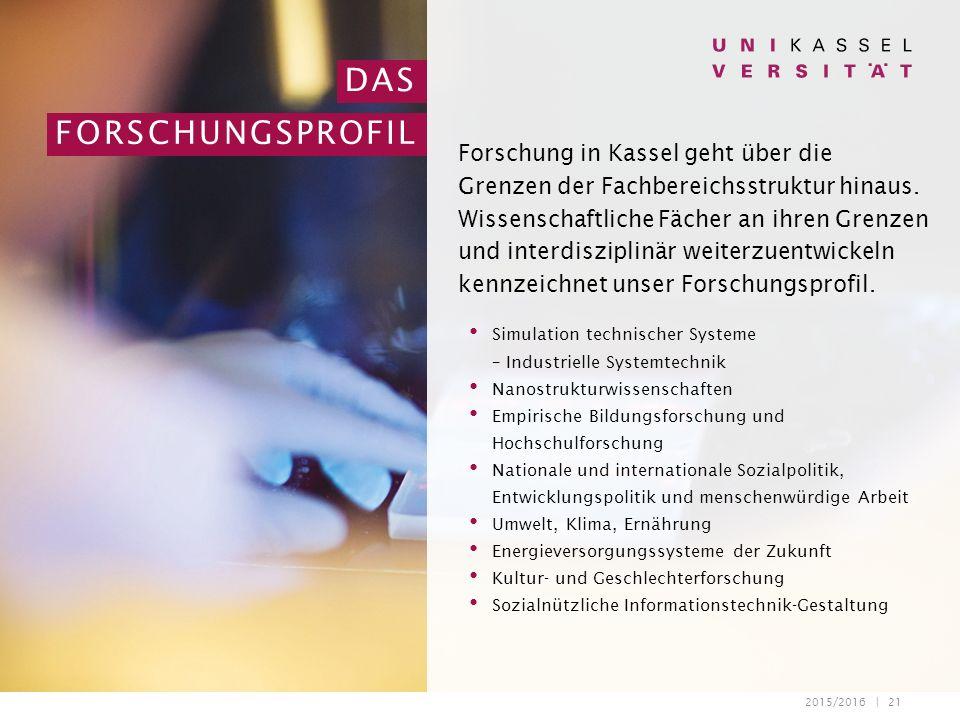 2015/2016 | 21 DAS FORSCHUNGSPROFIL Forschung in Kassel geht über die Grenzen der Fachbereichsstruktur hinaus.