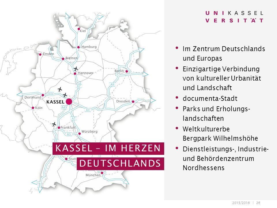 2015/2016 | 26 Im Zentrum Deutschlands und Europas Einzigartige Verbindung von kultureller Urbanität und Landschaft documenta-Stadt Parks und Erholung