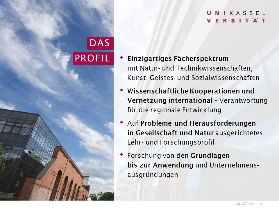 2015/2016 | 3 DAS PROFIL Einzigartiges Fächerspektrum mit Natur- und Technikwissenschaften, Kunst, Geistes- und Sozialwissenschaften Wissenschaftliche