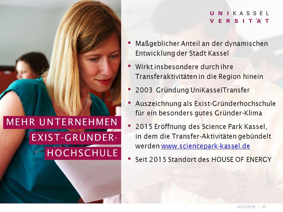 2015/2016 | 31 Maßgeblicher Anteil an der dynamischen Entwicklung der Stadt Kassel Wirkt insbesondere durch ihre Transferaktivitäten in die Region hin