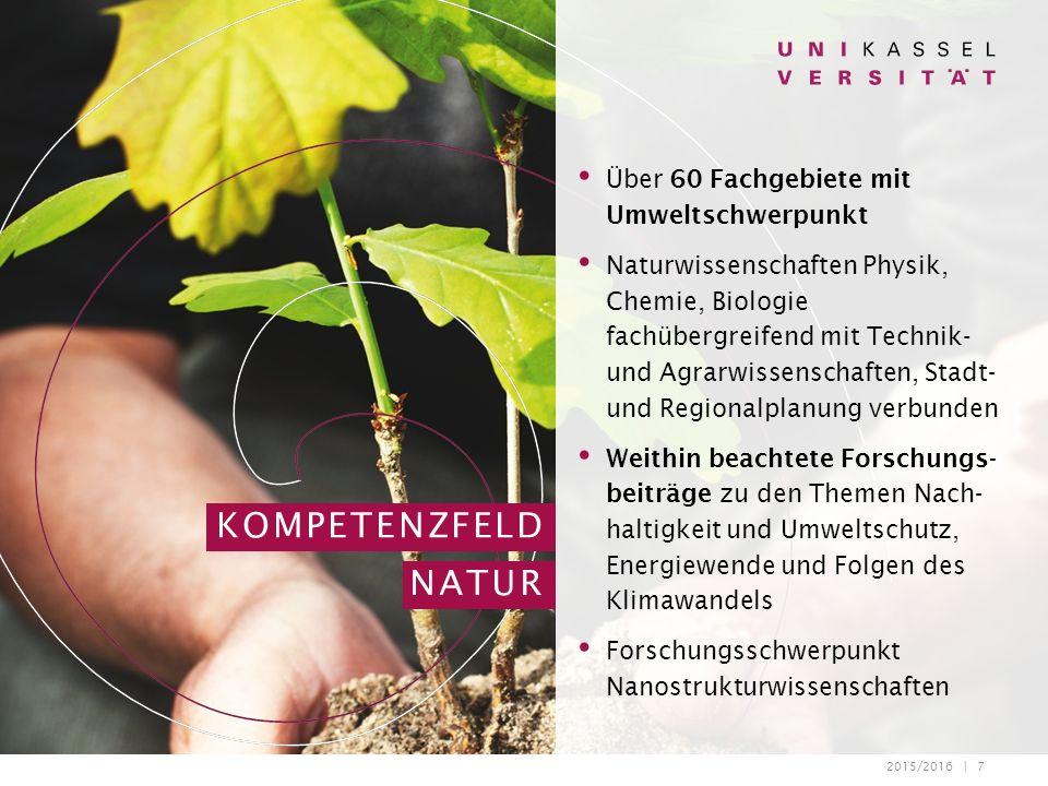 2015/2016 | 7 Über 60 Fachgebiete mit Umweltschwerpunkt Naturwissenschaften Physik, Chemie, Biologie fachübergreifend mit Technik- und Agrarwissenscha