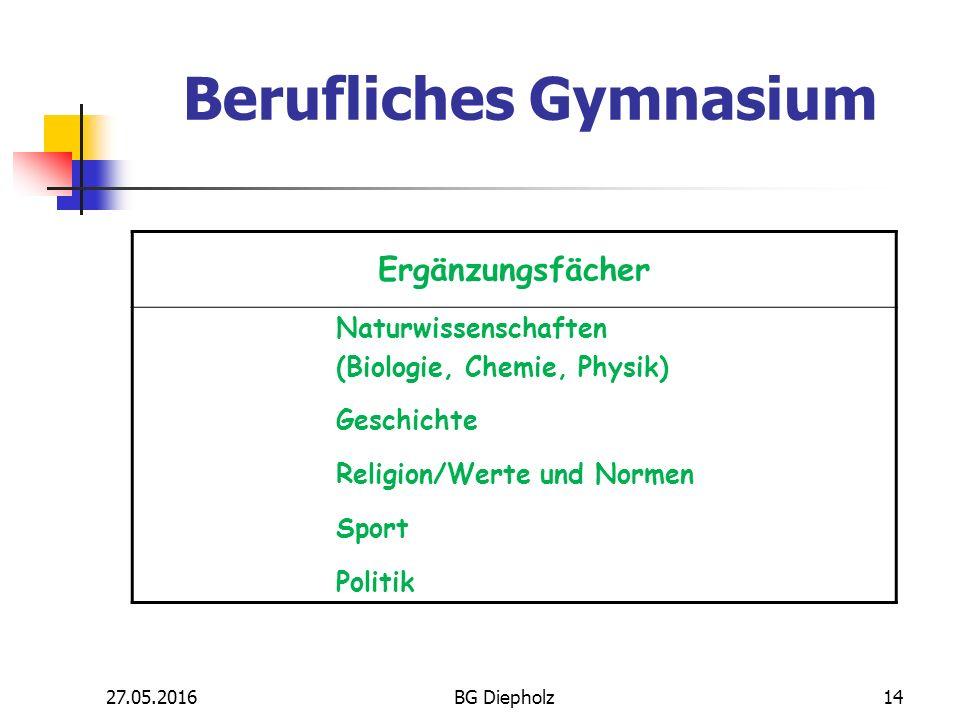 27.05.2016BG Diepholz13 Kernfächer zur Sicherung der allgemeinen Studierfähigkeit Deutsch Fremdsprachen:  Englisch  Spanisch (neu beginnend) Mathematik Berufliches Gymnasium
