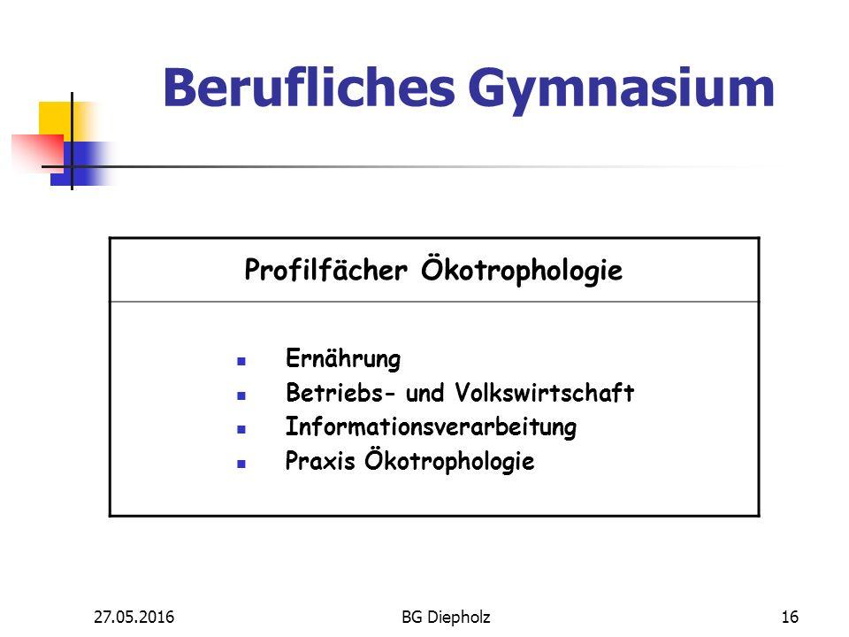 27.05.2016BG Diepholz15 Profilfächer Technik Technik Betriebs- und Volkswirtschaft Informationsverarbeitung Praxis Metall Berufliches Gymnasium