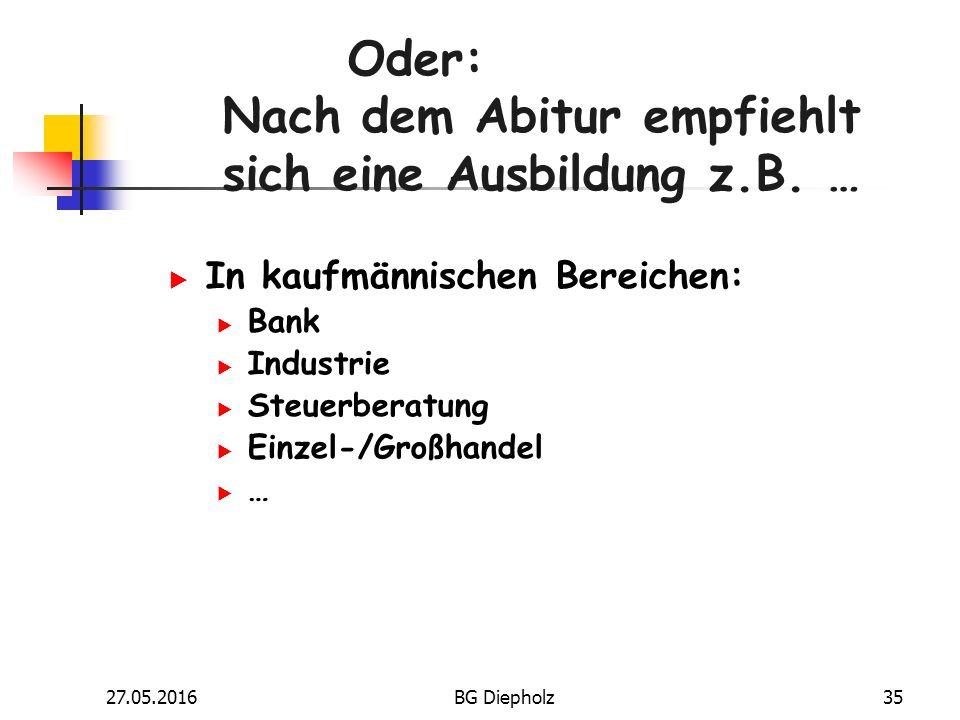 27.05.2016BG Diepholz34 Und nach dem Abitur empfiehlt sich z.B.
