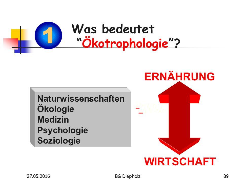 27.05.2016BG Diepholz38 Was bedeutet Ökotrophologie ? Fächer und Lerninhalte und nach dem Abitur?