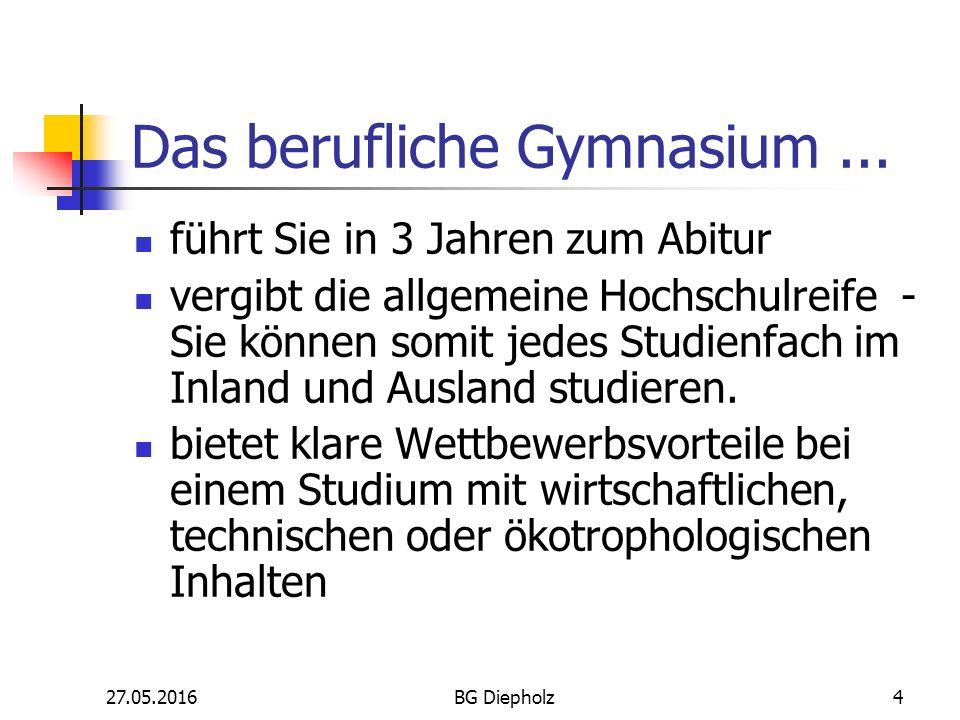 27.05.2016BG Diepholz3 Was ist ein berufliches Gymnasium? Fachrichtungen: Gesundheit und Soziales Schwerpunkt Ökotrophologie Technik Schwerpunkt Metal