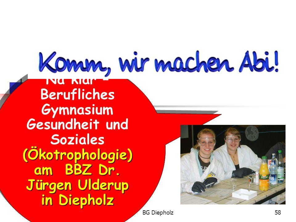 27.05.2016BG Diepholz57 Oder: Nach dem Abitur empfiehlt sich eine Ausbildung z.B. …  im Hotelbereich.  zur Diätassistentin/zum Diätassistenten.  zu