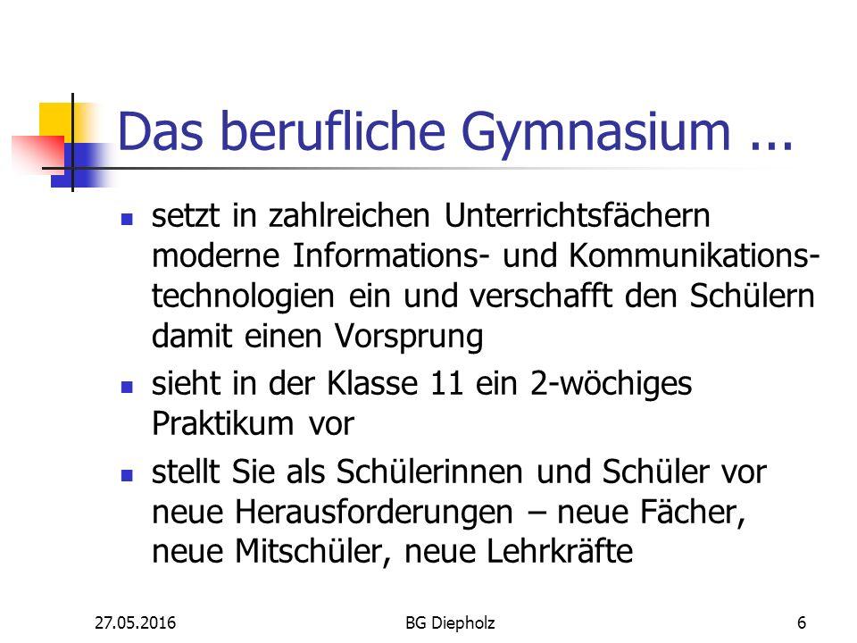 27.05.2016BG Diepholz5 Das berufliche Gymnasium... holt die Praxis in die Schule, z. B. durch Betriebsbesichtigungen bringt Schüler aus unterschiedlic
