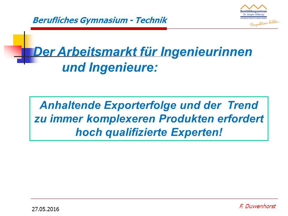 F. Duwenhorst Berufliches Gymnasium - Technik Berufliche Gymnasium Technik mit den Profilen:  Metalltechnik und  Gestaltungs- und Medientechnik