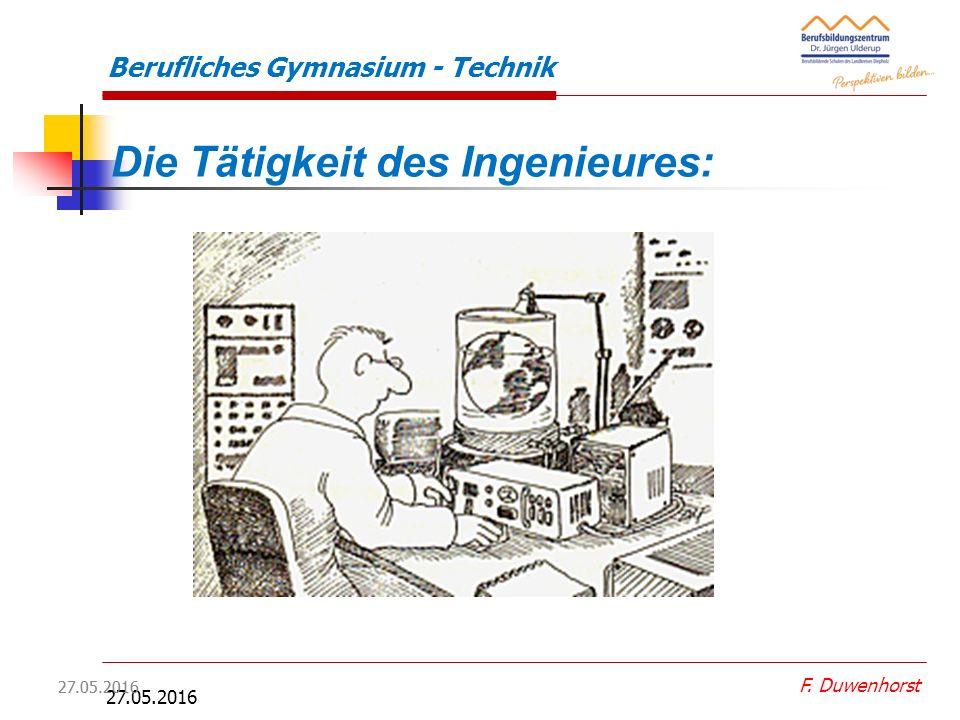 27.05.2016 F. Duwenhorst Berufliches Gymnasium - Technik  Die Zahl der beschäftigten Ingenieure hat in den vergangenen 10 Jahren mit ca. 8% viermal s