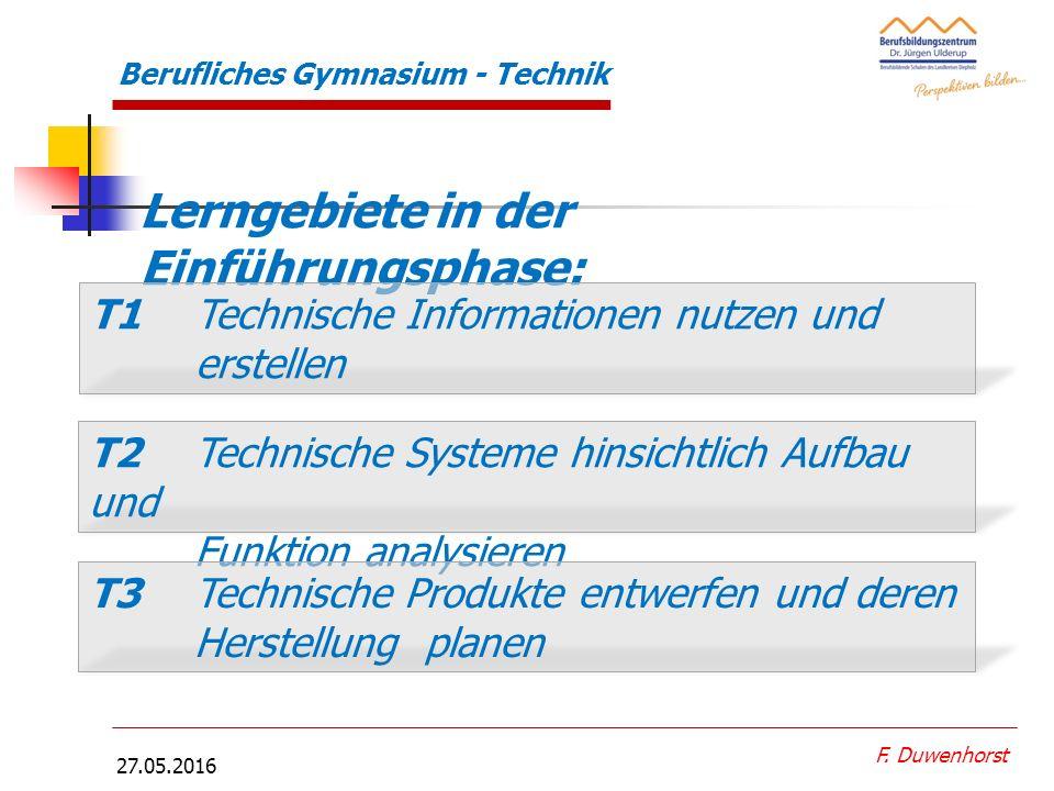 27.05.2016 F. Duwenhorst Berufliches Gymnasium - Technik Profilfäche r Anforderungen an Ingenieure  EDV-Kenntnisse  Betriebswirtschaft- liche Kenntn