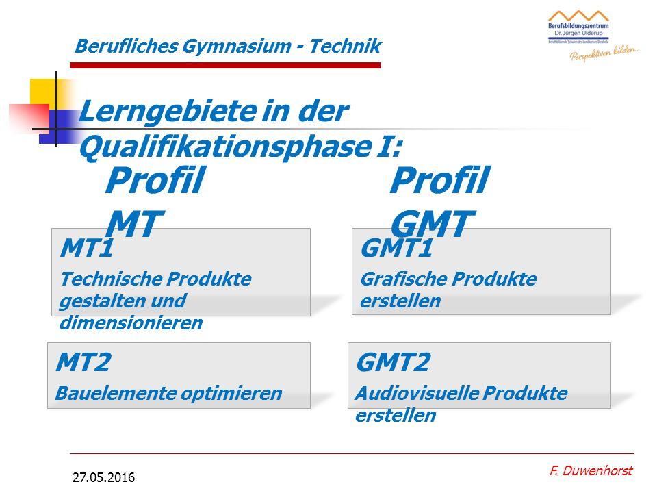 27.05.2016 Berufliches Gymnasium - Technik Projektbeispiel Einführungsphase F. Duwenhorst