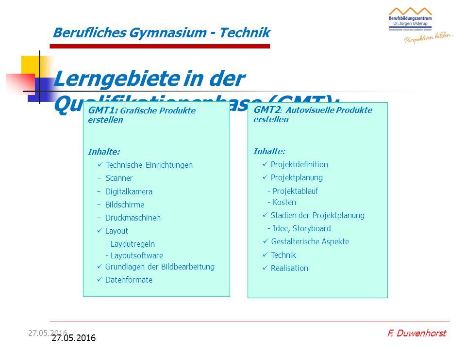 27.05.2016 Berufliches Gymnasium - Technik Lerngebiete in der Qualifikationsphase I: MT2 Bauelemente optimieren MT1 Technische Produkte gestalten und dimensionieren F.