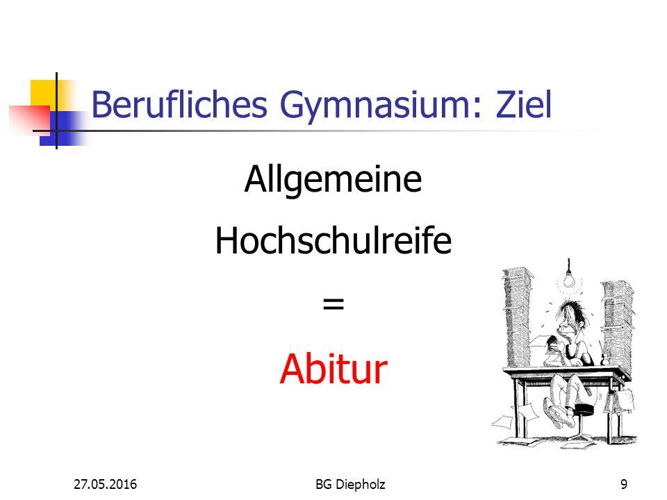 27.05.2016BG Diepholz8 Berufliches Gymnasium der Realschule Berufsfachschule Gymnasium Klasse 10 oder Ohne ESek.
