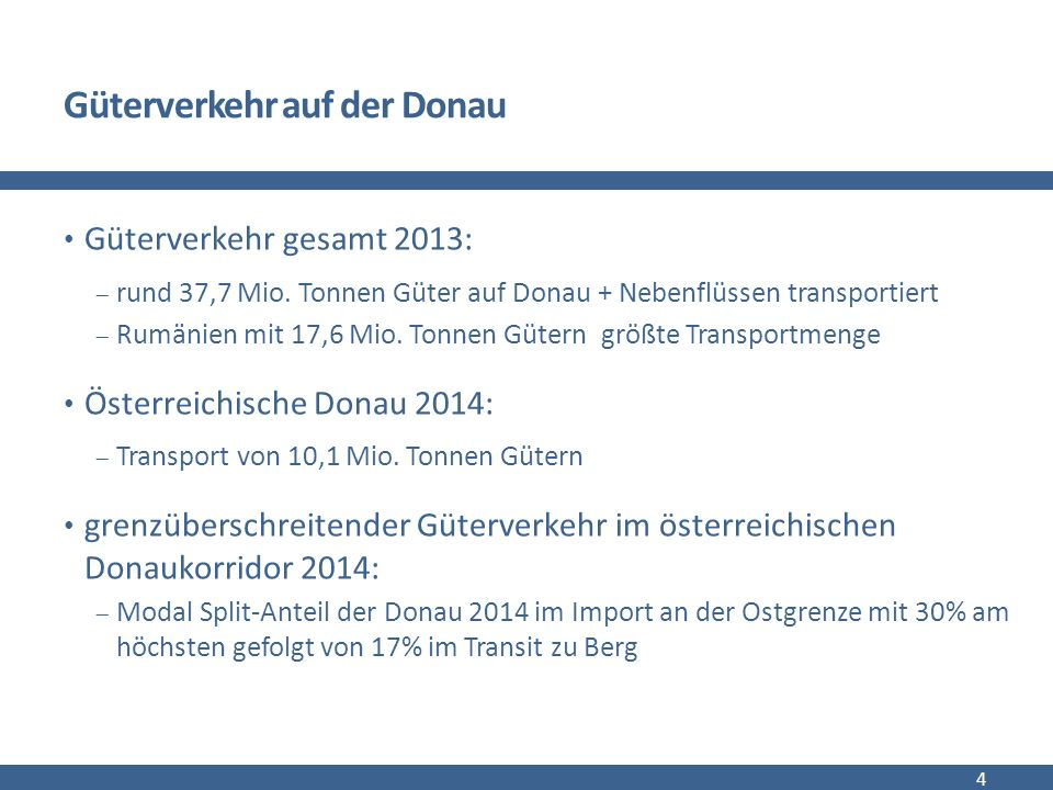 Güterverkehr der gesamten Donau in Mio. Tonnen/Jahr (2013) 5