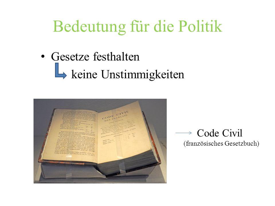 Bedeutung für die Politik Gesetze festhalten keine Unstimmigkeiten Code Civil (französisches Gesetzbuch)