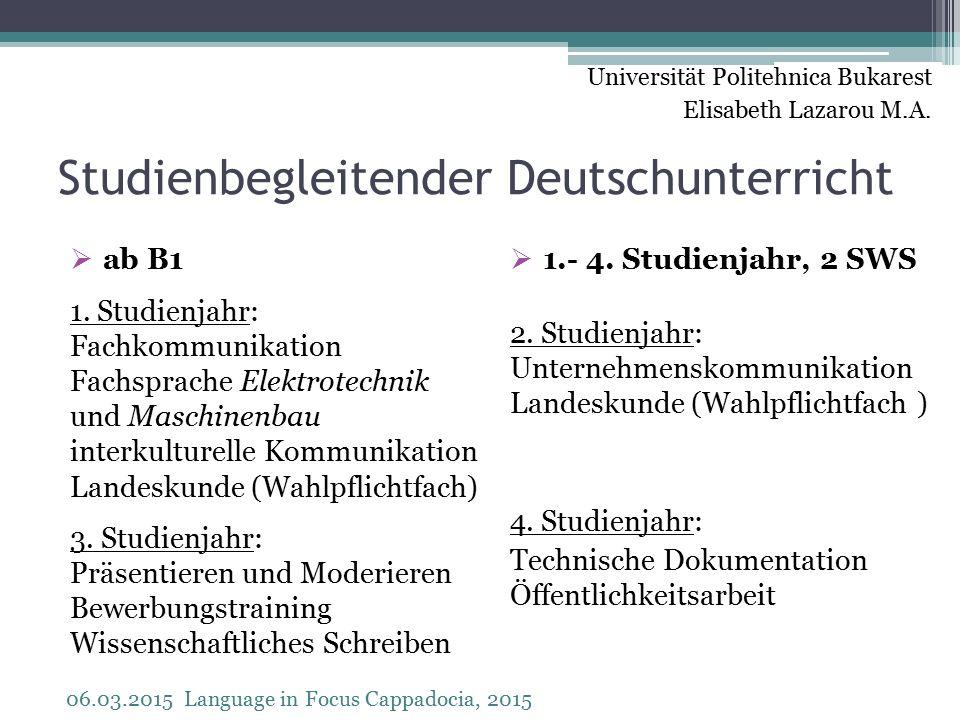 Studienbegleitender Deutschunterricht  ab B1 1.