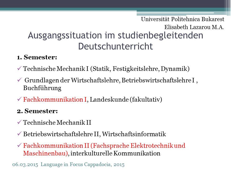 Ausgangssituation im studienbegleitenden Deutschunterricht 1.
