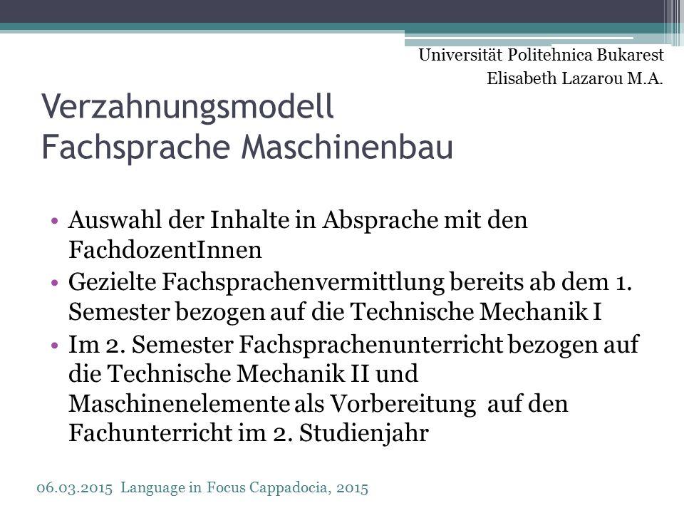 Verzahnungsmodell Fachsprache Maschinenbau Auswahl der Inhalte in Absprache mit den FachdozentInnen Gezielte Fachsprachenvermittlung bereits ab dem 1.