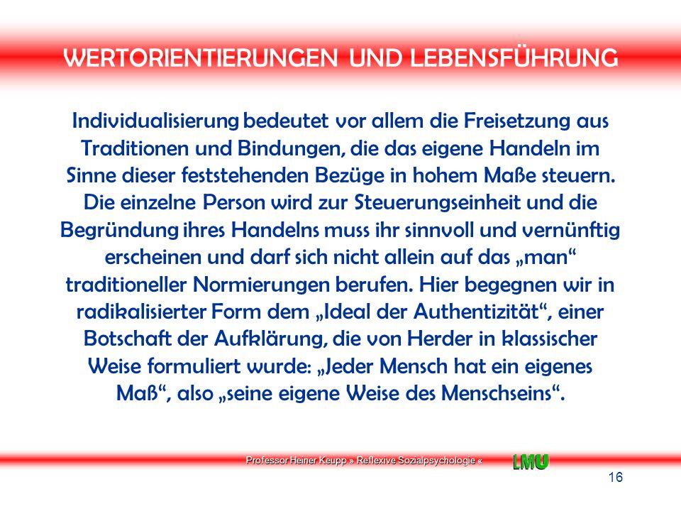 Professor Heiner Keupp » Reflexive Sozialpsychologie « Biographische Kernnarrationen Dominierende Teilidentitäten Identitätsgefühl Authentizitäts- und Kohärenzgefühl Geschlecht Arbeit Unterhaltung/ Freizeit Politik Konsum Handeln (= Viele einzelne situative Selbsterfahrungen) Ebene Meta- identität Ebene Teilidentitäten z.B.