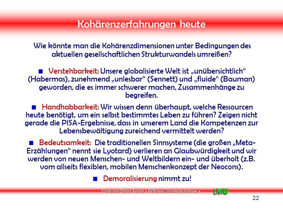 Professor Heiner Keupp » Reflexive Sozialpsychologie « SOZIOGENESE PSYCHISCHER STÖRUNGEN