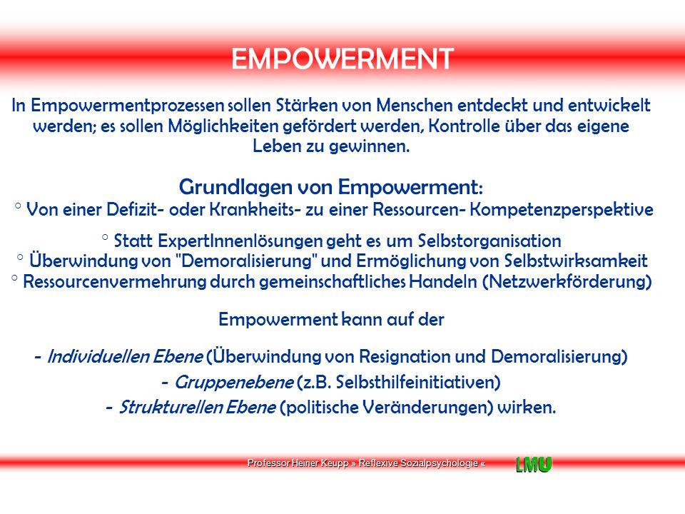 Professor Heiner Keupp » Reflexive Sozialpsychologie « EMPOWERMENT Erfahrungsknoten im Empowerment-Lernprozess: Von der Defizit- oder Krankheitsperspektive zur Ressourcen- oder Kompetenzper-spektive.