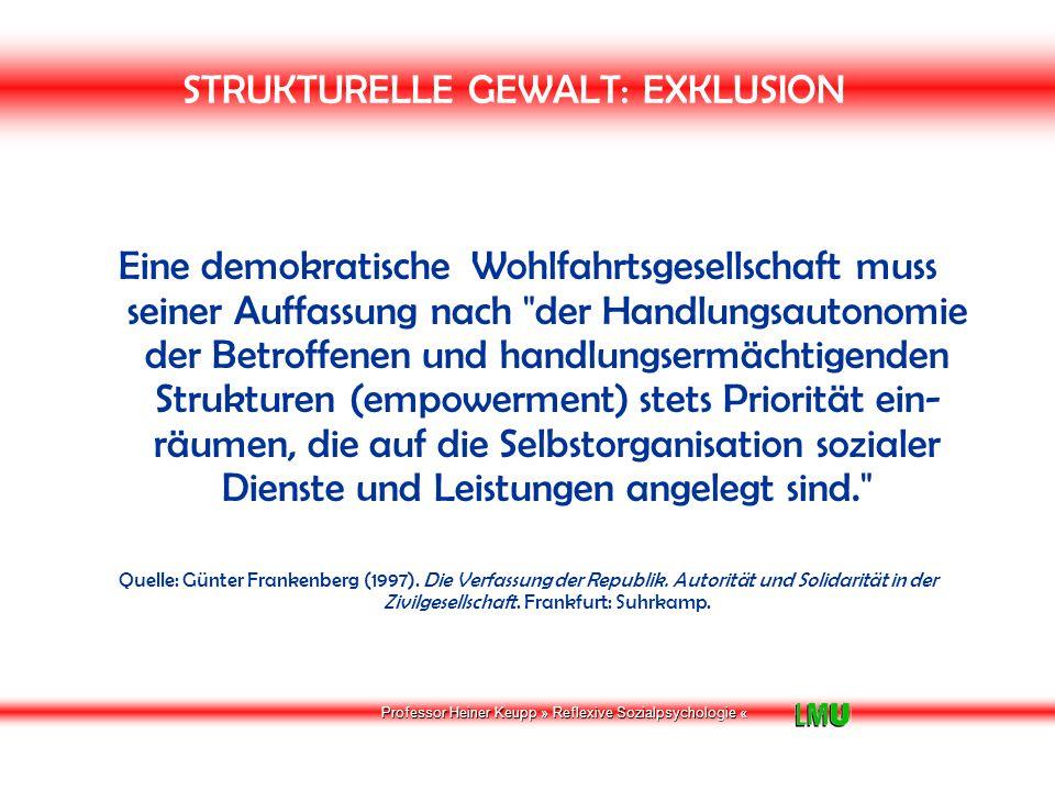 Professor Heiner Keupp » Reflexive Sozialpsychologie « STRUKTURELLE GEWALT: EXKLUSION Für den Fall, dass die Handlungskompetenz der Betroffenen infolge ihrer spezifischen Lebenslage eingeschränkt ist, konkretisiert sich die Pflicht zu ziviler Solidarität in unterstützenden Strukturen oder advokatorischen Formen der Sozialpolitik, die sich daran orientieren, die Betroffenen soweit wie möglich wieder zur Selbsthilfe zu befähigen Quelle: Günter Frankenberg (1997).