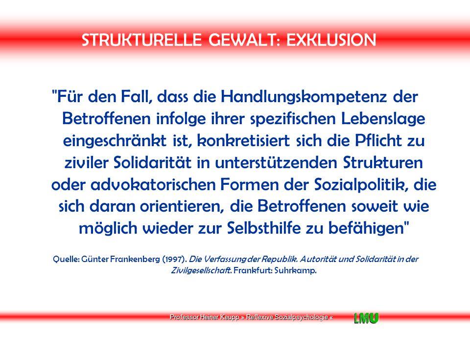 Professor Heiner Keupp » Reflexive Sozialpsychologie « STRUKTURELLE GEWALT: EXKLUSION Sozialpolitik: Empowerment Sozialpolitik als empowerment reaktiviert verschüttete, verkümmerte und überlastete soziale Bindungen ebenso wie sie neue ermutigt und fördert.