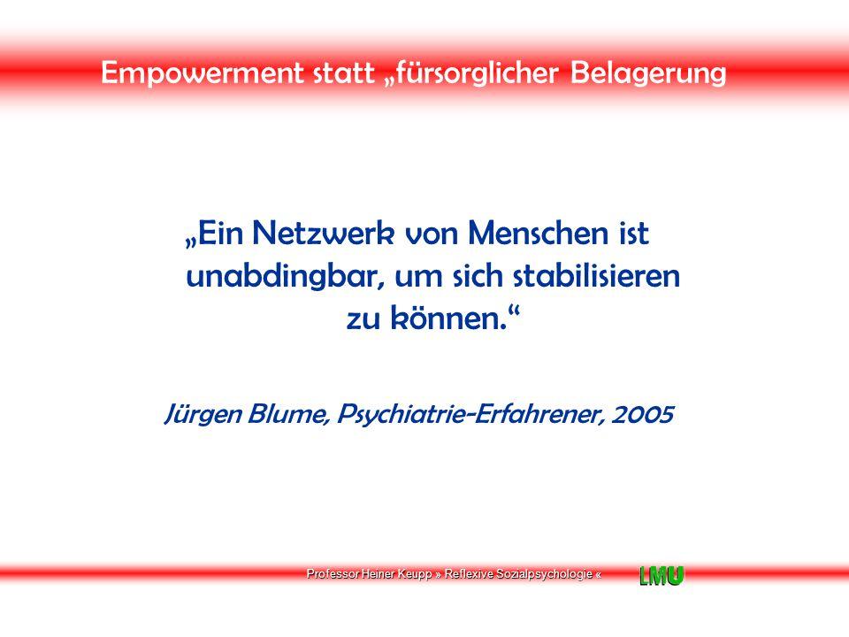"""Professor Heiner Keupp » Reflexive Sozialpsychologie « VERWIRKLICHUNGSCHANCEN """"Letztlich ist das individuelle Handeln entscheidend, wenn wir die Mängel beheben wollen."""