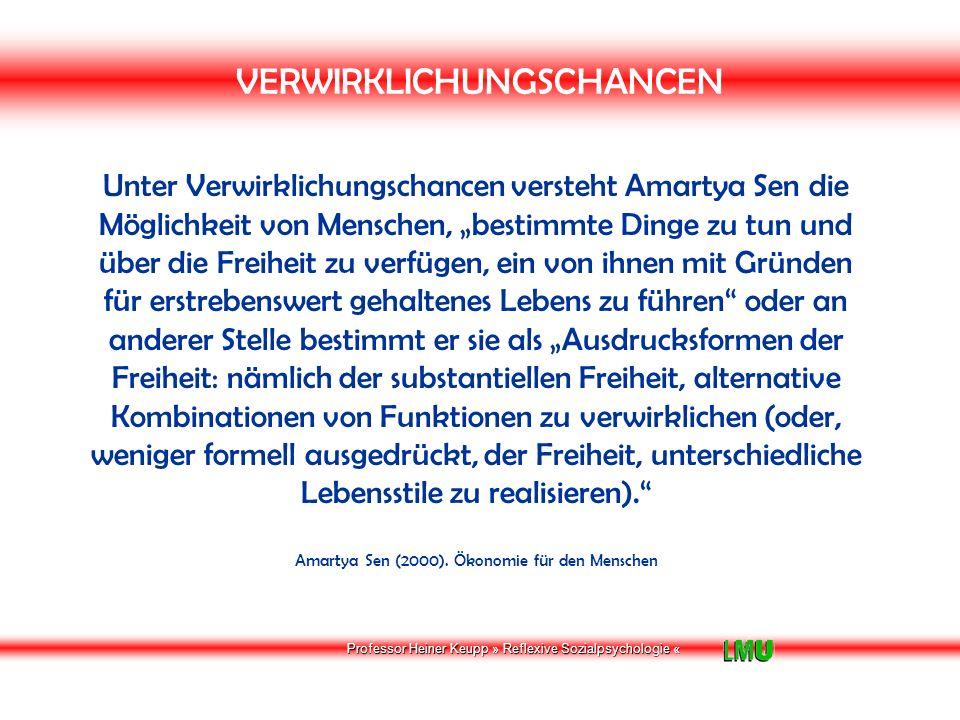 Professor Heiner Keupp » Reflexive Sozialpsychologie « BEDINGUNGEN DES WOHLERGEHENS Quelle: Amartya Sen (2000).