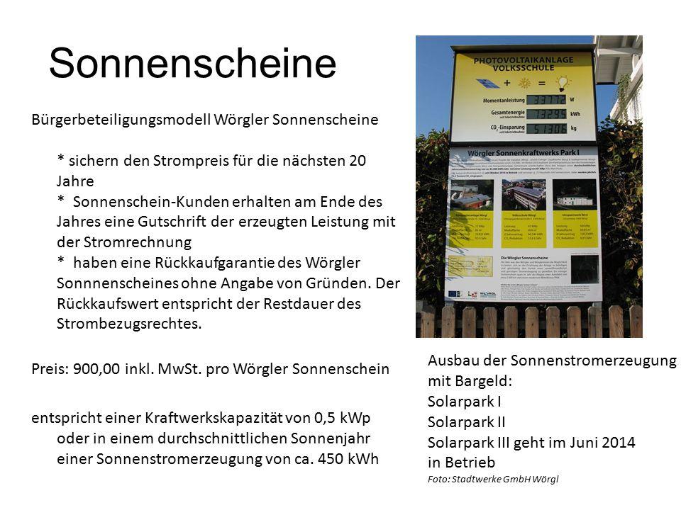 Sonnenscheine Bürgerbeteiligungsmodell Wörgler Sonnenscheine * sichern den Strompreis für die nächsten 20 Jahre * Sonnenschein-Kunden erhalten am Ende