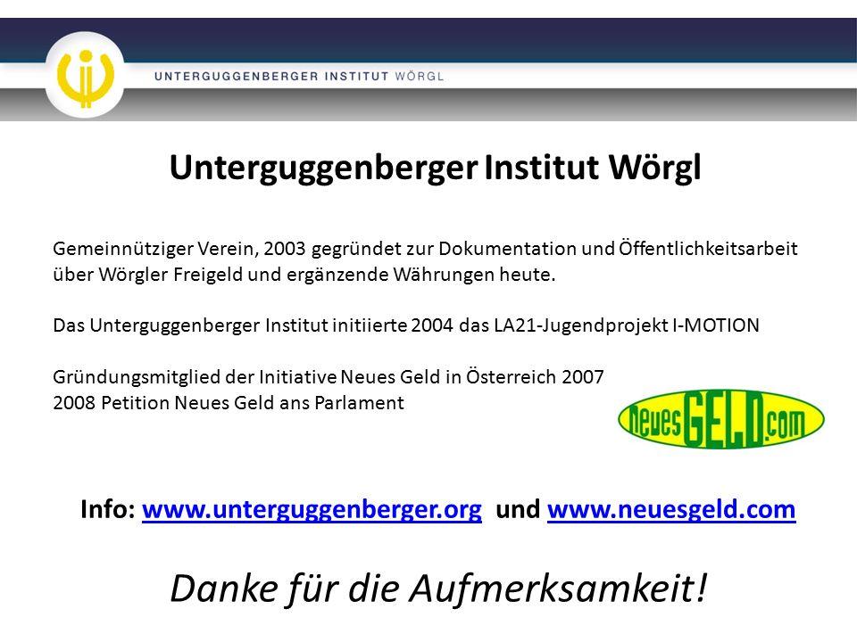 Unterguggenberger Institut Wörgl Gemeinnütziger Verein, 2003 gegründet zur Dokumentation und Öffentlichkeitsarbeit über Wörgler Freigeld und ergänzende Währungen heute.