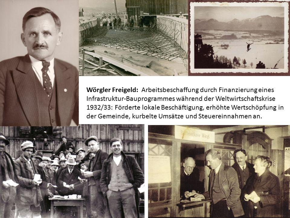 Wörgler Freigeld: Arbeitsbeschaffung durch Finanzierung eines Infrastruktur-Bauprogrammes während der Weltwirtschaftskrise 1932/33: Förderte lokale Be