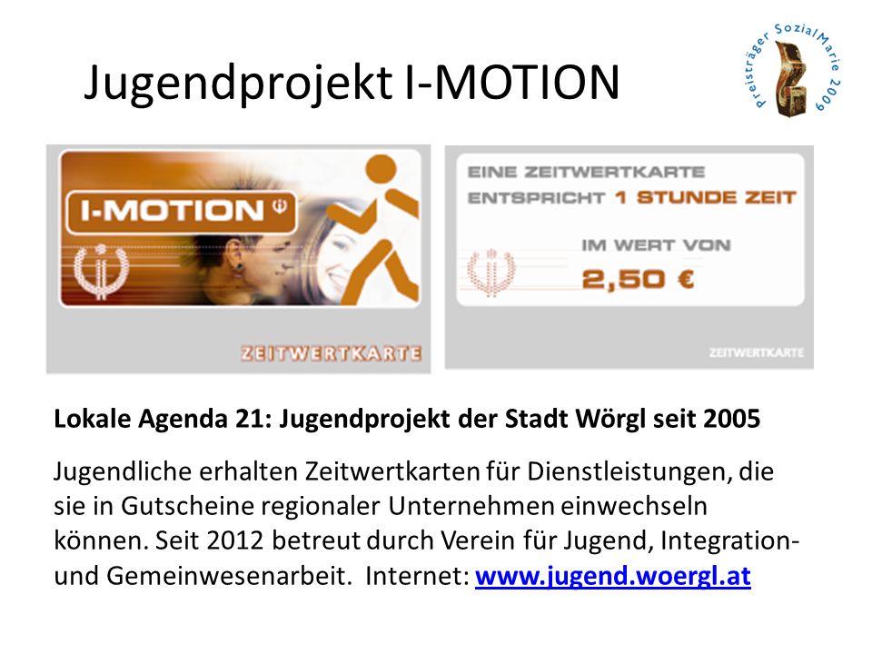 Jugendprojekt I-MOTION Lokale Agenda 21: Jugendprojekt der Stadt Wörgl seit 2005 Jugendliche erhalten Zeitwertkarten für Dienstleistungen, die sie in Gutscheine regionaler Unternehmen einwechseln können.
