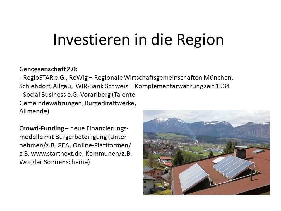 Investieren in die Region Genossenschaft 2.0: - RegioSTAR e.G., ReWig – Regionale Wirtschaftsgemeinschaften München, Schlehdorf, Allgäu, WIR-Bank Schw