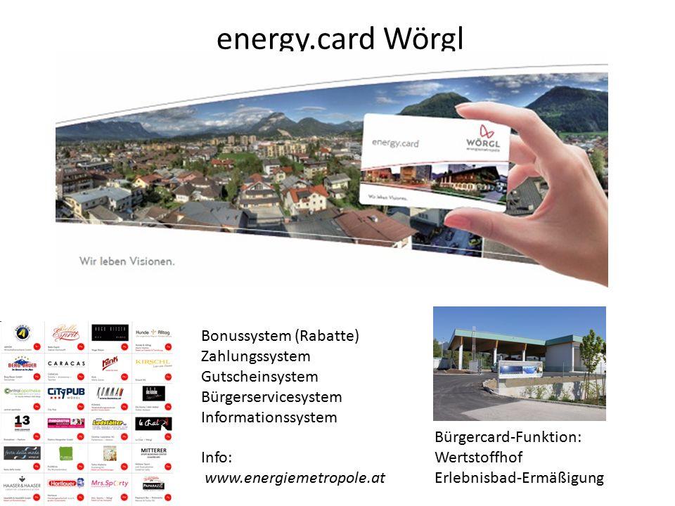 energy.card Wörgl Bonussystem (Rabatte) Zahlungssystem Gutscheinsystem Bürgerservicesystem Informationssystem Info: www.energiemetropole.at Bürgercard-Funktion: Wertstoffhof Erlebnisbad-Ermäßigung