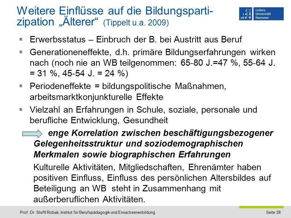 """Seite 28 Weitere Einflüsse auf die Bildungsparti- zipation """"Älterer (Tippelt u.a."""
