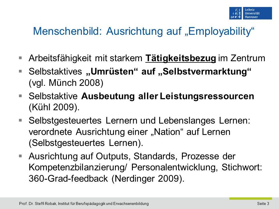 """Seite 3 Menschenbild: Ausrichtung auf """"Employability  Arbeitsfähigkeit mit starkem Tätigkeitsbezug im Zentrum  Selbstaktives """"Umrüsten auf """"Selbstvermarktung (vgl."""
